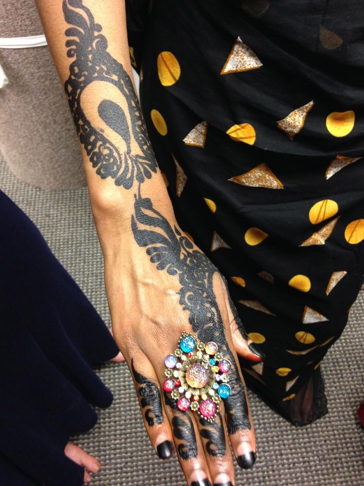 Photograph of wedding henna, right forearm