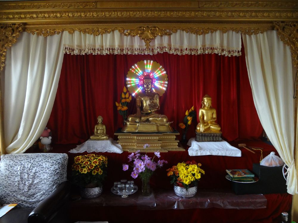 Shrine to Buddha at Sitagu Dhamma Vihara, Burmese Monastery
