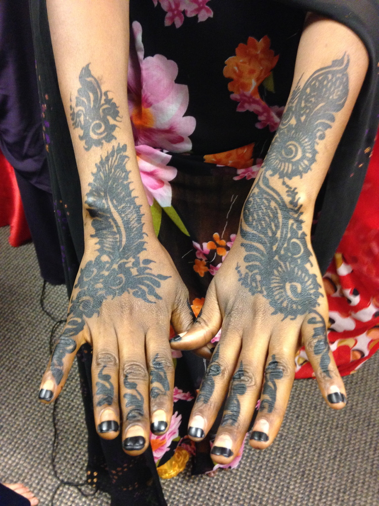 Photograph of wedding henna, forearms
