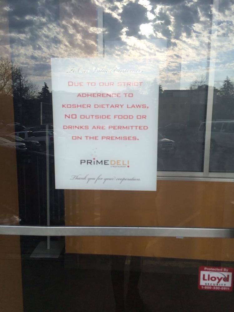 Sign outside Kosher Prime Deli