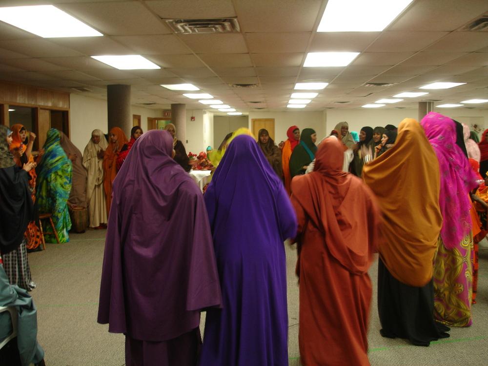 Photograph of women dancing at Somali wedding