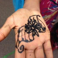 Photograph of wedding henna, floral palm