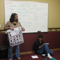 Shreyasi Kambale teaching Marathi at the Chinmaya Mission