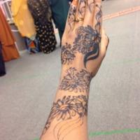 Photograph of wedding henna, left forearm