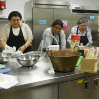 Women engaged in their regular service of cooking for St. Dominic's Church, Northfield